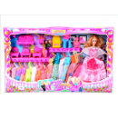 Set of doll + 13  dresses with furniture