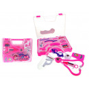 wholesale Toys: Medical kit in a pink fun doctor case 14 ele