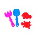 nagyker Kültéri játékok: Mini homokkészlet (lapát, gereblye + 2 penész