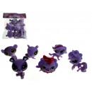 Ensemble violet animaux 5 cm - un ensemble de 6 pi