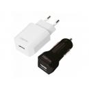 Großhandel Taschen & Reiseartikel: Logilink USB Reise-Set, jeweils 1x USB-Port, 5W/6W
