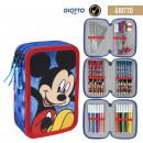 Großhandel Schulbedarf: Mickey - gefülltes Federmäppchen Triple Giotto, bl