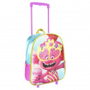 wholesale Bags & Travel accessories: TROLLS - trolley 3d nursery glitter, pink