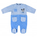 MICKEY - baby grow velour cotton, blue