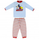 wholesale Sleepwear: MICKEY - long pajamas velour cotton, blue