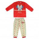 Großhandel Nachtwäsche: Minnie - Langer Schlafanzug Velours, rot