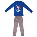 wholesale Nightwear: SNOOPY - long pajamas interlock, blue