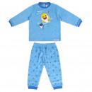 Großhandel Nachtwäsche: BABY SHARK - lange -Pyjama-Velours Baumwolle, blau