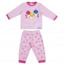 BABY SHARK - long pajamas velour cotton, pink