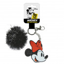 MINNIE - key chain acrilico pom pom, black