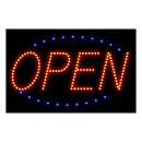 LED Schild Open; rot/blau