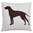 Canapé coussin beige avec un chien, 45 x 45 cm