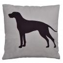 Canapé coussin gris avec un chien, 45 x 45 cm