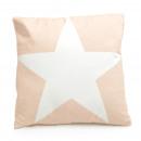 Canapé coussin beige avec étoile blanche, 45 x 45