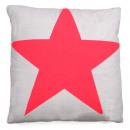 Canapé coussin gris avec étoile rose, 45 x 45 cm
