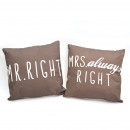 wholesale Home & Living: Set of 3 Pillow  Set Mr. & Mrs. Right, Brown 45
