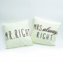 wholesale Home & Living: Set of 2 Pillow  Set Mr. & Mrs. Right, Beige 45