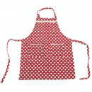 Cooking Apron  Ellen - red with hearts 79.5 x 58.5
