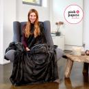 grossiste Coussins & Couvertures: Super douce  couverture, 220 x 240 cm, noir