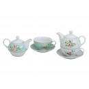 wholesale Crockery: Teapot set 3-piece flowers from porcelain, 2-fac