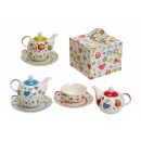 Teapot set with cup + plate assorted from porcelai