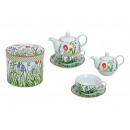 Teapot set with cup + plate (flowers) of porcelain