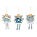 Christmas Hanger Angel in textile gray, mint green