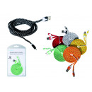wholesale Cables & Plugs: USB cable with textile covering for Iphone Colorfu
