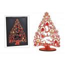 Karácsonyfa üveggolyókkal Santa Claus fából készül