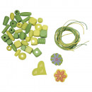 Wood bead mix: Cocktail, green, 50 g