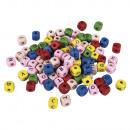 Houten letterblokjes, gemengd, 50 g