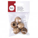 Wooden beads, polished, 25 mm ø, natural, 5 pieces