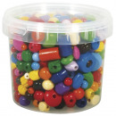 Wood beads, colorful, 380 g