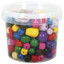 Wood beads, colorful, 350 g
