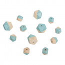 Wooden beads diamond, Indian turquoise, 12 pieces