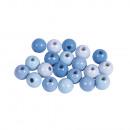 Houten kralenmengsel, FSC 100%, 8mm ø, lichtblauw