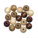 Mélange de perles de bois FSC 100%, 10mm ø, 52 piè