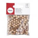 Perles de bois FSC 100%, poli, 8mm ø, naturel, 82