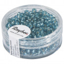 Seed beads, 2, 6 mm ø, with silver intake, turquoi