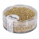 Gyöngyök, 2, 0 mm ø, gyöngyház, arany, 17 g