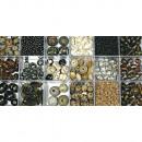 Scatola di perle di vetro, topazio, 240 g