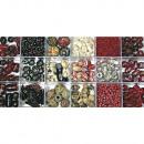 Scatola di perle di vetro, rubino, 240 g
