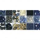 Scatola di perle di vetro, acquamarina, 240 g