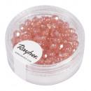 Glass cut pearl, 4mm ø, rose, 100 pieces