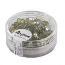 Üveg vágott gyöngy, 4mm ø, oliva, 100 darab