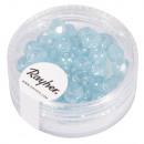 Glass cut pearl, 6mm ø, light blue, 50 pieces