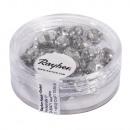 Glass cut pearl, 6mm ø, silver, 50 pieces