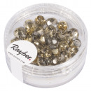 Glass cut pearl, 6mm ø, gold, 50 pieces
