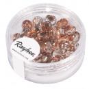 Glass cut pearl, 6mm ø, copper, 50 pieces