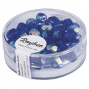 Glass cut pearl, 6mm ø, sapphire, 50 pieces